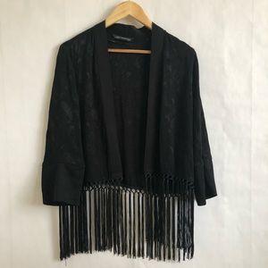 Zara Open Front Silky Fringe Kimono